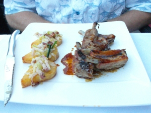 Dinner in Toulouse: pork ribs and baked potato