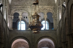 The massive incense burner which is lit at the end of mass and then swung from one end of the transept to the other