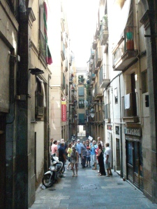 The narrow alleys abundant with shops