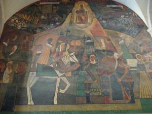 beautiful fresco of the holy family