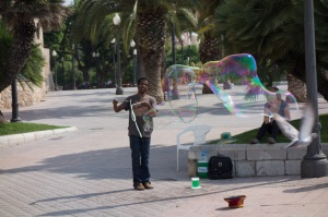 Some people are just great blowing bubbles