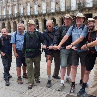 The finishing line: Raul; Jim; Norm; Dr. John; Mike; Rick; Bryan & Sandy